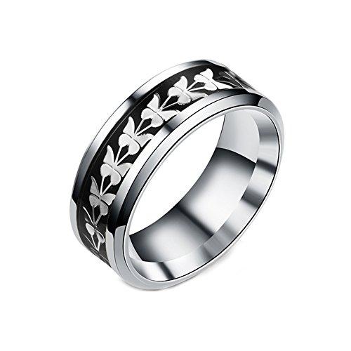 JAJAFOOK Women Men Fashion Simple Style Stainless Steel Butterfly Rings Jewelry,Size -