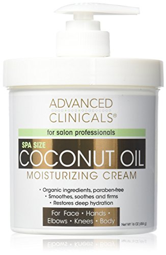 Advanced Clinicals Coconut Oil Cream. Spa size 16oz Moisturi