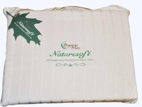 Organic Cotton Luxury Stripe Sateen Sheet Set Queen White