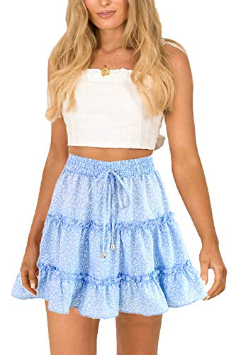 - SimpleFun Ruffle Short Skirts for Women Floral Cute Aline Mini Skirts