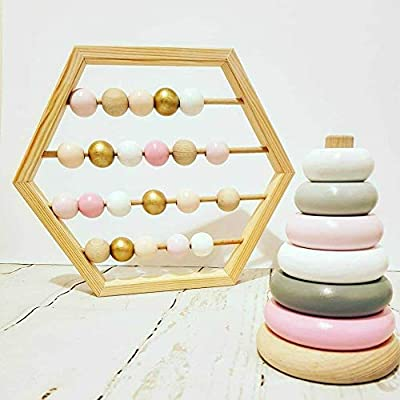 LPER Puzzles Toys for Kids, Puzzle Toy Natural Wooden Abacus Beads Craft Baby Early Learning Educational Toys Baby Room Decor(Wood White Silver) (Color : Macaron): Electronics