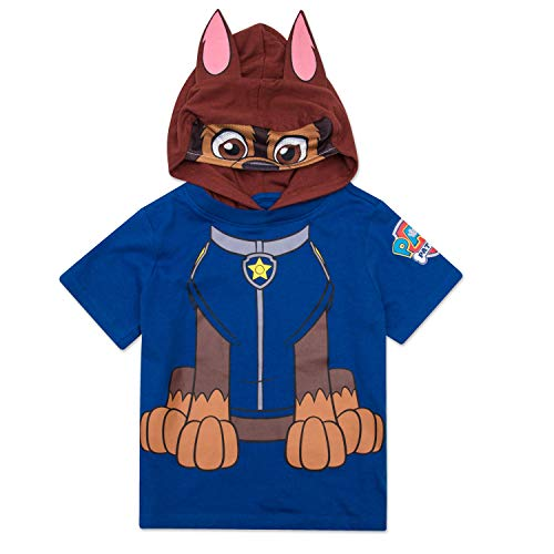 Nickelodeon Paw Patrol Boys Hooded Shirt Paw Patrol Costume Tee - Chase, Marshall, Ryder and Skye (Chase, 5T) -