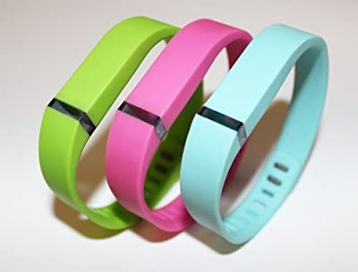 Set Large Size 1 Pink/Purple 1 Lime 1 Teal Rubber Bands (With Clasps) for Fitbit Flex Bracelet Tracking Exercise Activity Sport by Generic
