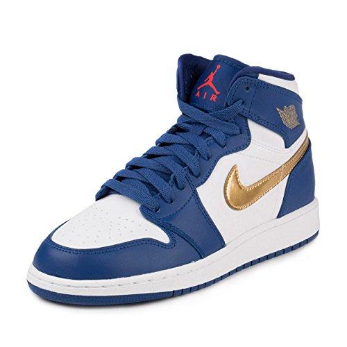nike air jordan 1 retro high BG hi top trainers 705300 sneakers shoes (5.5 M US BIG KID, deep royal blue metallic gold white 406) by NIKE