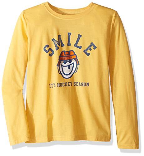 Life is Good Boys Cool Tee Longsleeve It's Hockey Season Athletic T Shirts, Baja Yellow, Large