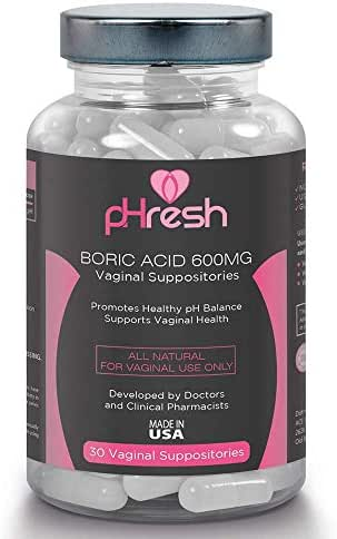 Boric Acid Vaginal Suppositories pHresh - Promotes Healthy Vaginal pH Balance, Supports Vaginal Health 600mg, Bottle of 30 Natural Boric Acid Suppositories Non-GMO, Third-Party Tested - Made in USA