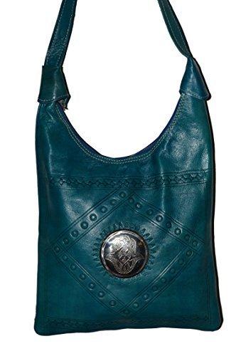 Moroccan Bags and Purses Hand Made Leather Shoulder Bag Aqua