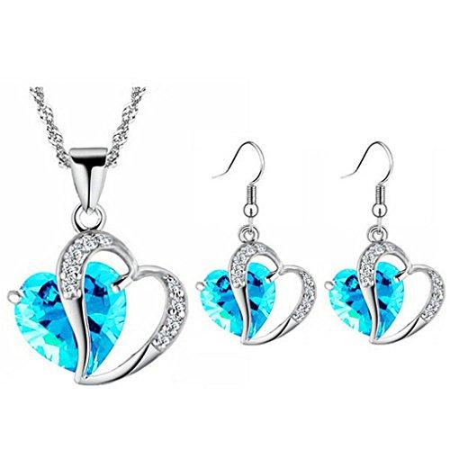 Set Pendant 18kgp Earrings (fonk: 18KGP Heart rhinestones Pendant Necklace Earrings set 80172)