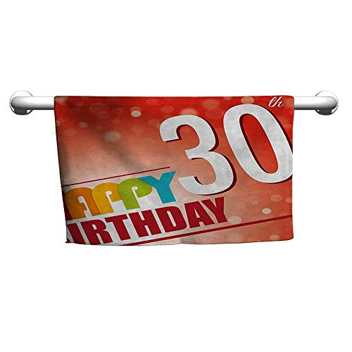 (duommhome 30th Birthday Quick Dry Towel Invitation to The Birthday Party in Colorful Retro Style Poster Image Print W8 x L23 Multicolor)