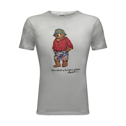 Polo Ralph Lauren Mens Limited Polo Bear T-Shirt (White/Bucket Hat, Small)