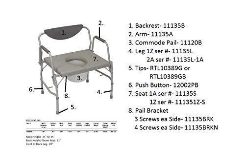 Drive Medical Deluxe Bariatric Drop-Arm Commode, Grey by Drive Medical (Image #2)