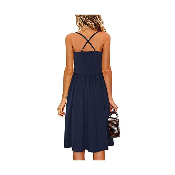 Women's Summer Floral Dress Spaghetti Strap Button Down Sundress with Pockets