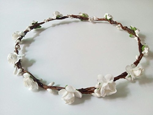 Hippy DIY Handmade Crafts Mini Paper Plum Flower Artificial Berry Crown Woodland Headband Floral Hairband Theme Wedding Hair Pieces for Women Hippies …