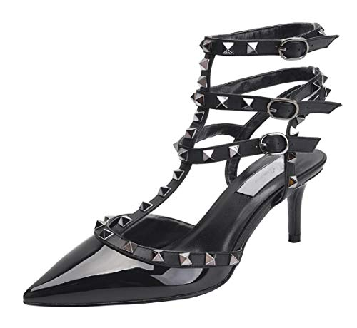 WSKEISP Womens Pointed Toe Slingback Kitten Heel Studded Strappy Sandals T-Strap Bridal Party Prom Shoes Black Patent PU EU42