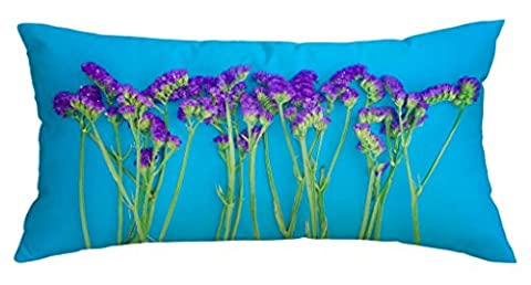 Blue Background Pillow Cover,Purple Myosotis Customized Home Decoration Polyester Rectangle Pillow Cover Case 16 X 40 (Bench Cushion Indoor 40 Inch)