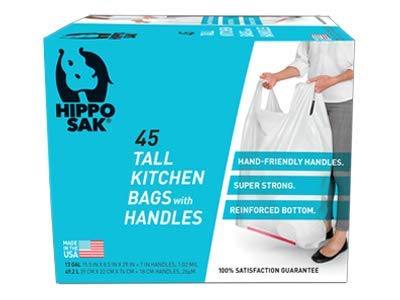 Hippo Sak Tall Kitchen Bags with Handles, 13 Gallon, 45 Count