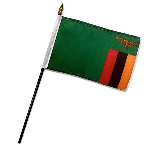 "Quality Standard Flags One Dozen Zambia Stick Flag, 4 by 6"""