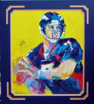 John Elway and Leroy Neiman autographed Neiman Print Professionally Framed and Double Matted