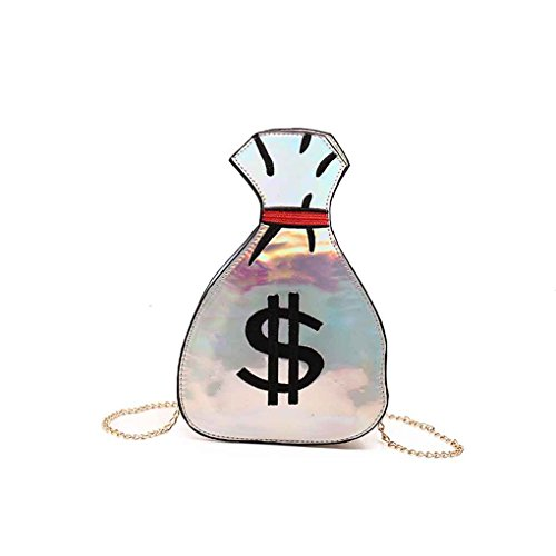 M-Egal Money Bag Shape Women's PU Leather Leather Messenger Bags Funny Shoulder Bags Handbag silver 26156cm