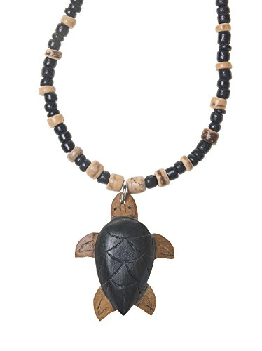 Wooden Turtle Tiger Coconut Wood Beaded Necklace