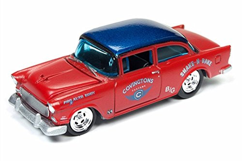 1955 Chevy Two-Door Sedan, Red w/ Blue Top - Round 2 JLMC007/48B - 1/64 Scale Diecast Model Toy Car ()
