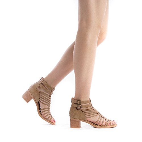 TOETOS Women's Ivy_02 Nude Fashion Block Heeled Sandals Size 11 B(M) US by TOETOS (Image #7)
