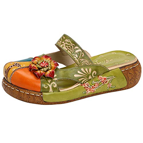 Mordenmiss Women's Colorful Backless Slippers Flowers Leather Vintage Boho Platform Flat Sandals Green US 7.5