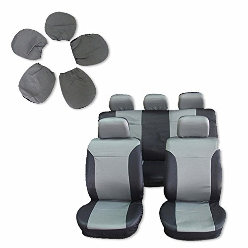 Seat Cover CCIYU Universal Car Seat Cushion w/Headrest - 100% Breathable Washable Automotive Seat Covers Replacement for Most Cars Trucks Vans (Black on Gray)
