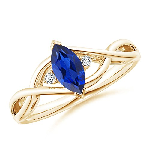 Criss-Cross Marquise Sapphire Solitaire Ring with Diamonds in 14K Yellow Gold (8x4mm Blue Sapphire)