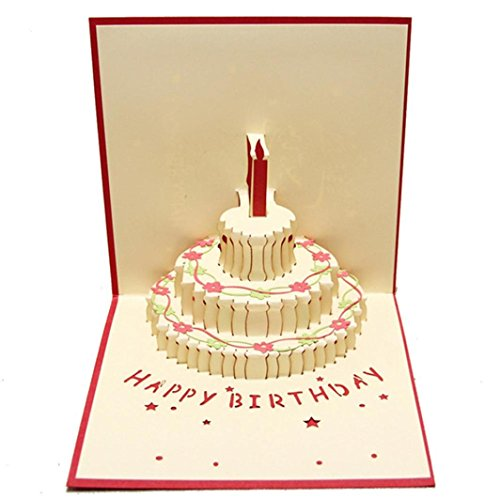 GBSELL 3D Pop Up Cards Valentine Lover Happy Birthday Anniversary Father's Day Greeting Card (C) (Cards Valentines Birthday)