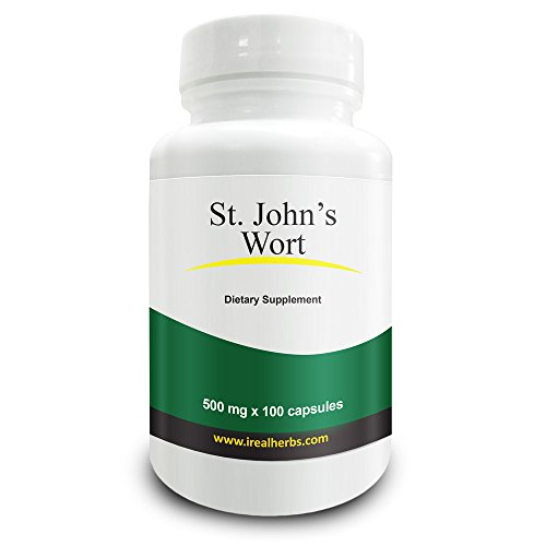 Real Herbs St Johns Wort Standardized to 0.3% Hypericin 500mg - Herb Supplement for Positive Thoughts - Vegan Capsules an alternative to Pills & Tablets - 100 Vegetarian Capsules