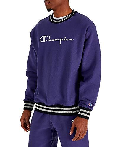 Champion Life Men's Reverse Weave Yarn Dye Rib Trim Crew Neck Fleece (Blue Apron, ()