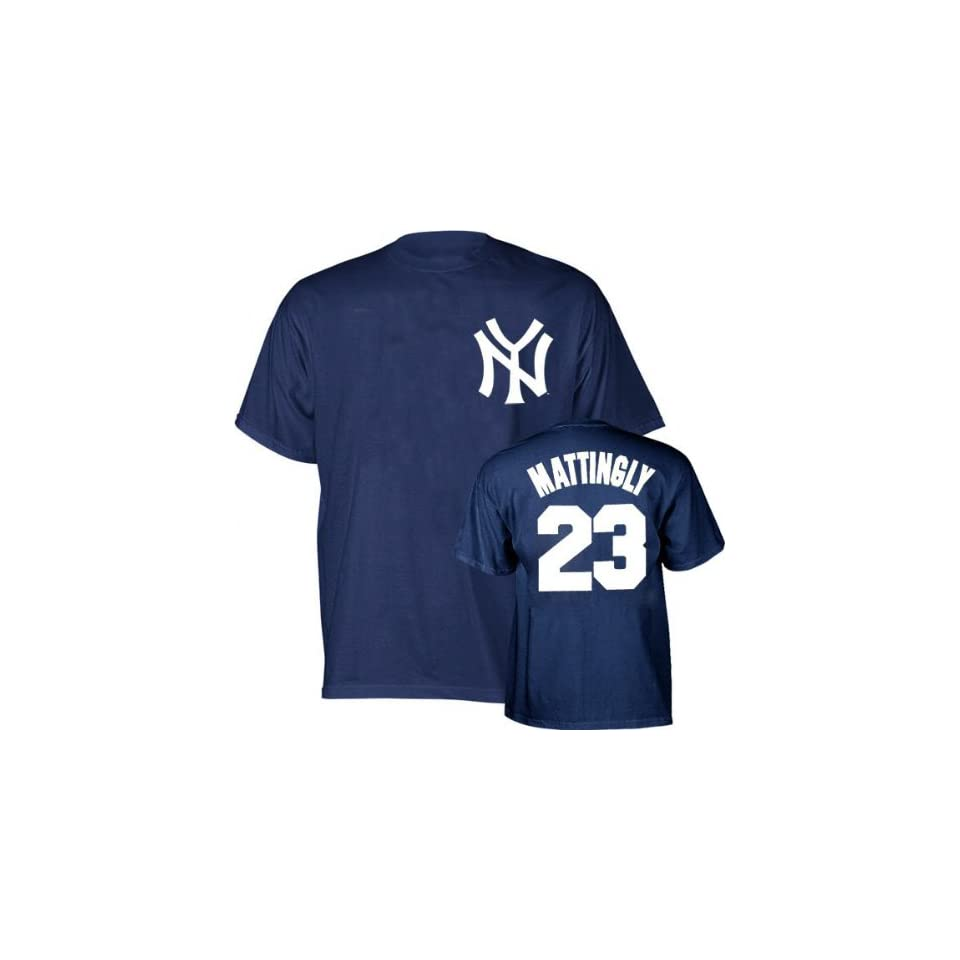 New York Yankees Don Mattingly Name and Number Navy T Shirt by Majestic  Baseball Apparel  Sports & Outdoors