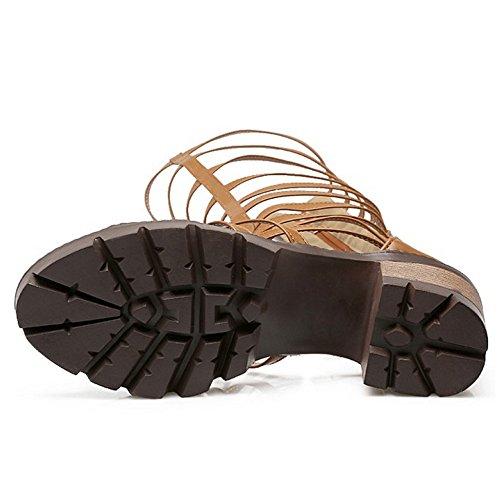 TAOFFEN Mujer Gladiador Peep Toe Bottilons Sandalias Clasico Tacon Ancho Tacon Medio Cremallera Zapatos Jaune