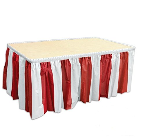 4 pack Red & White Striped Table Skirt