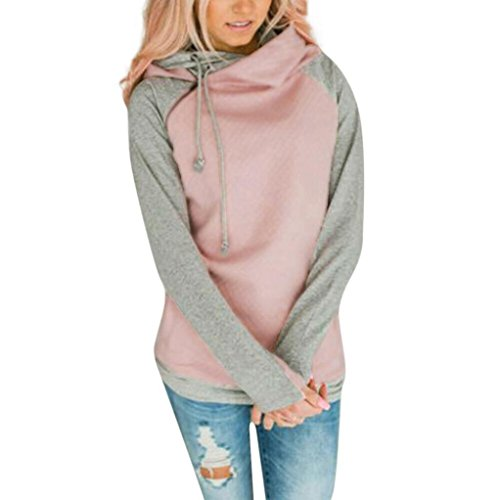 Kimloog Hot Sale! Women's Funnel Neck Raglan Sleeve Color-Block Hoodie Drawstring Sweatshirts Pocket Jumper Pullover (M, Pink)