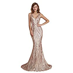 Style D (Champagne) Long Sequin Mermaid Dress Sleeveless