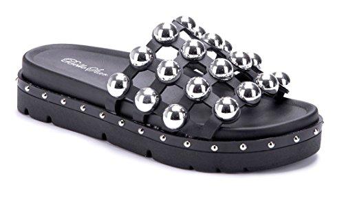 Schuhtempel24 Damen Schuhe Pantoletten Sandalen Sandaletten Flach Nieten Schwarz