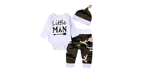 Counjunto de Ropa beb/é Beb/és Reci/én Nacidos Ropa Beb/é Ni/ña Ni/ño Carta de Impresi/ón Mono Mameluco Camisa Tops y Pantalones de Camuflaje Conjunto de Trajes