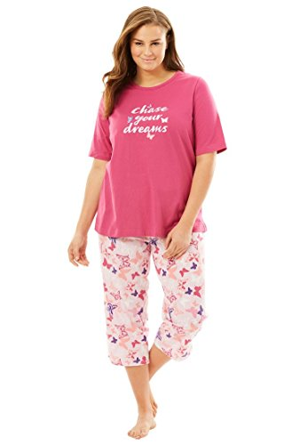 Dreams & Co. Women's Plus Size V-Neck Capri PJ Set