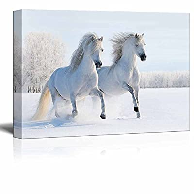 Fascinating Creative Design, it is good, Two Galloping White Welsh Ponies Horses on Snow Field Wall Decor
