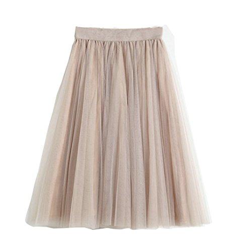 yannzi Tulle Skirts For Women Elastic High Waist Pleated Midi Skirt Princess Party Mesh Tutu (Champagne, One Size)