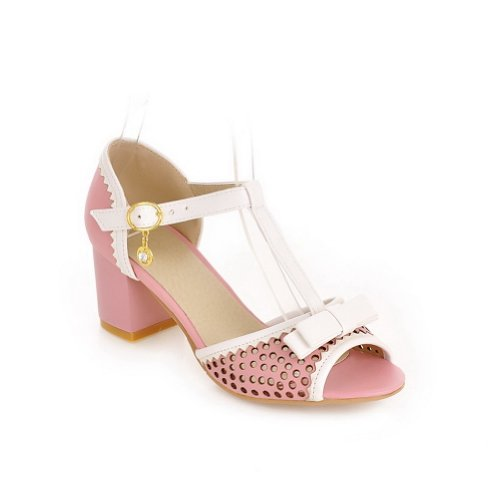 Pink mit Womens Bowknot Ferse Kätzchen Open Farben PU Sandalen Verschiedene Heels VogueZone009 Toe Chunky URpnn