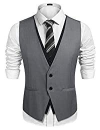 COOFANDY Men's Wedding Vest Slim Fit Layering Formal Business Waistcoat