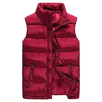 Chaleco Caliente de los Hombres, Chaleco de algodón de Moda de Invierno, Abrigo sin Mangas Engrosamiento de Invierno 2018 últimos Modelos XL Azufaifo Rojo: ...