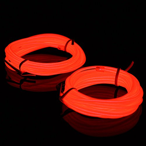 lychee Halloween el Wire Portable Glowing Neon Light El Wire Belt Tape w/Battery Pack for Party Costum,Halloween Christmas Decoration. (5m&2pack, -