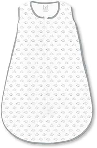 SwaddleDesigns Cotton Sleeping Sack with 2-Way Zipper, Tiny Hedgehog with Gray/Black, Medium