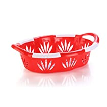 Nayasa Blossom 2 Piece Oval Plastic Fruit Basket Set, Red