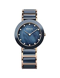 BERING Time Women's Ceramic Collection Watch with Ceramic Link Band and scratch resistant sapphire crystal. Designed in Denmark. 11429-767