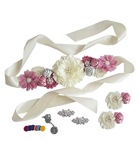 Baby Shower Maternity Floral Sash with Matching Wrist Corsage + Shoe Clips + Aromatherapy Necklace (Mauve Set of 4) -